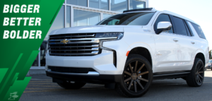 White 2021 Chevrolet Tahoe parked in the shade