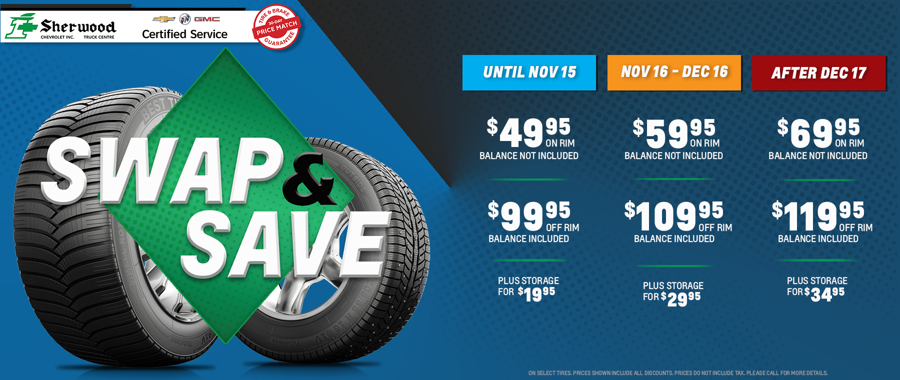 image of tires on blue background with tire promotion info