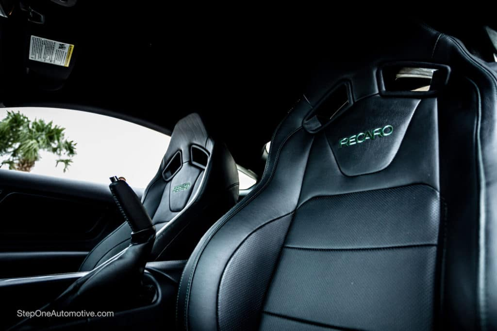 Leather seats inside of the Steve McQueen Edition Mustang
