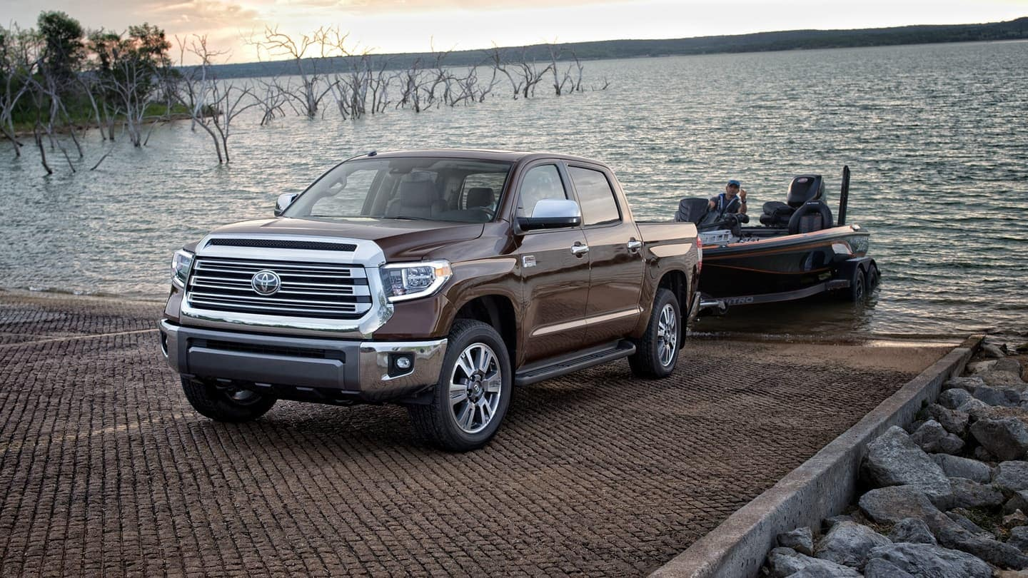 2020 Toyota Tundra towing boat to water