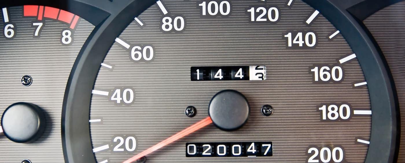 odometer displaying high mileage