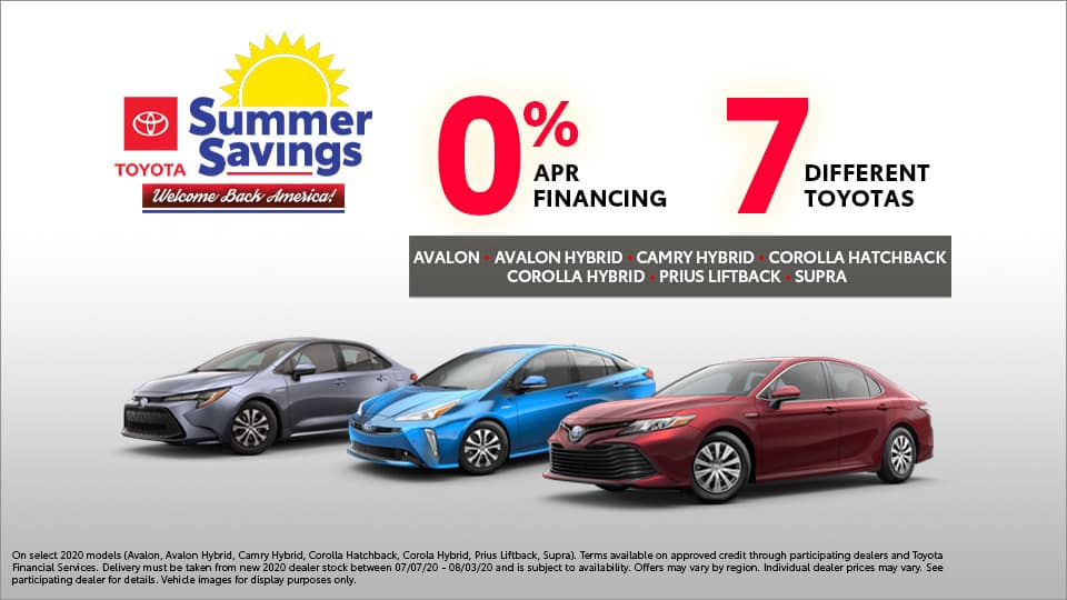 0% percent APR on 7 Different Toyotas