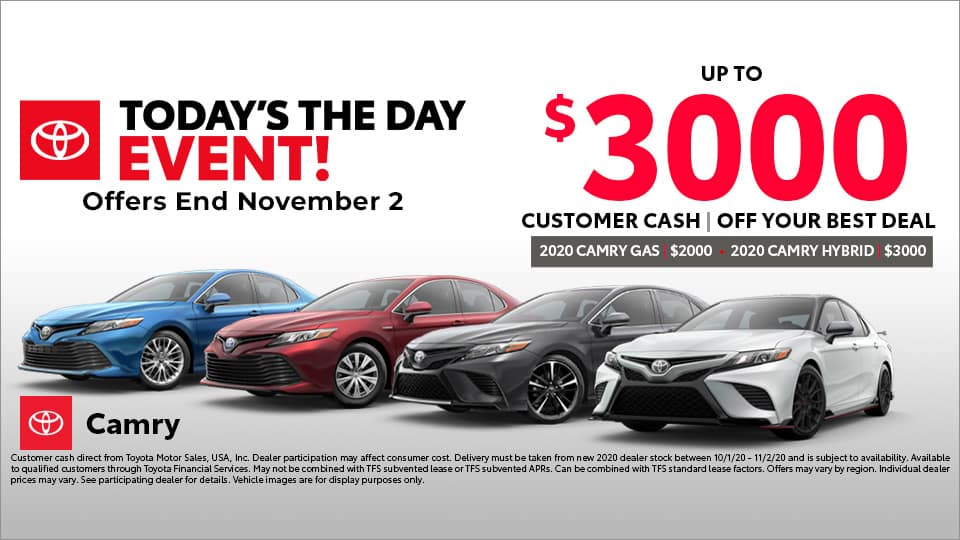 $3000 Customer Cash on Toyota Camry at Toyota South