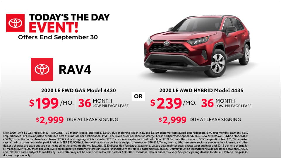 2020 Toyota RAV4 lease starting at $199 a month at Toyota South
