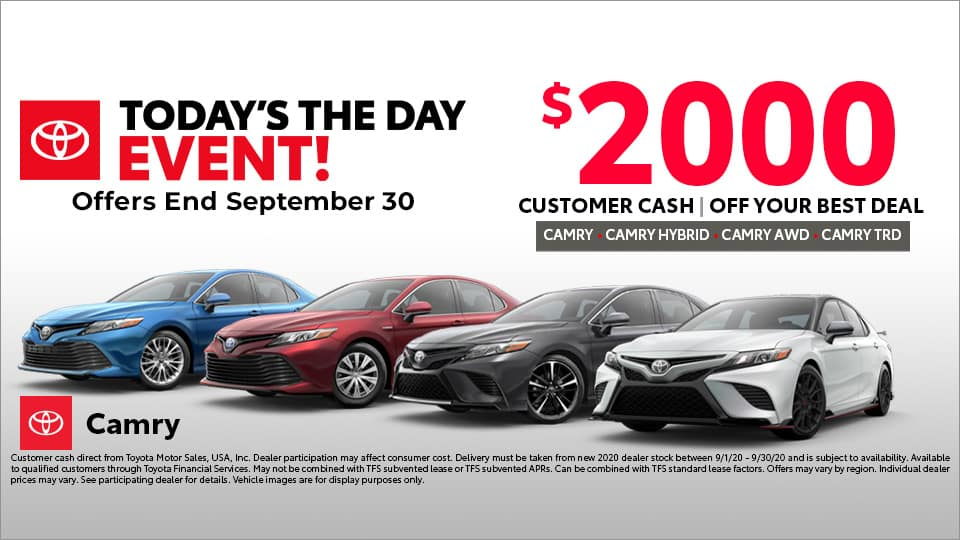 $2000 Customer Cash on Toyota Camry at Toyota South in Richmond, KY