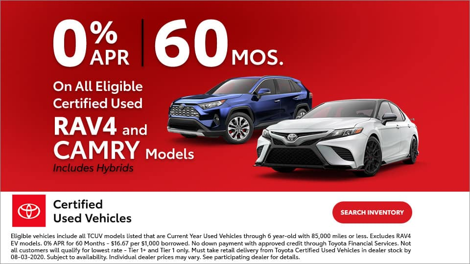 0% APR on Certified RAV4 and Camry at Toyota South
