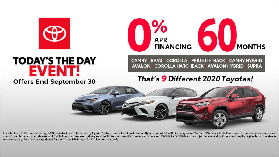 0% APR over 60 months on 9 Toyota Models at Toyota South in Richmond, KY