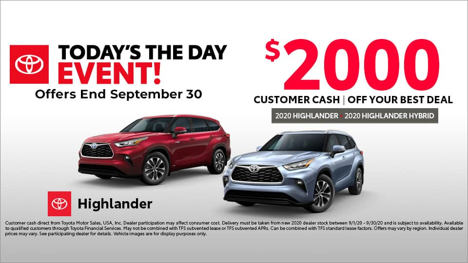 $2000 Customer Cash on Toyota Highlander at Toyota South in Richmond, KY